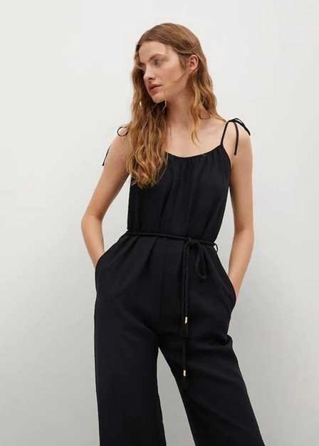Mango - Black Flowy Belted Jumpsuit, Women