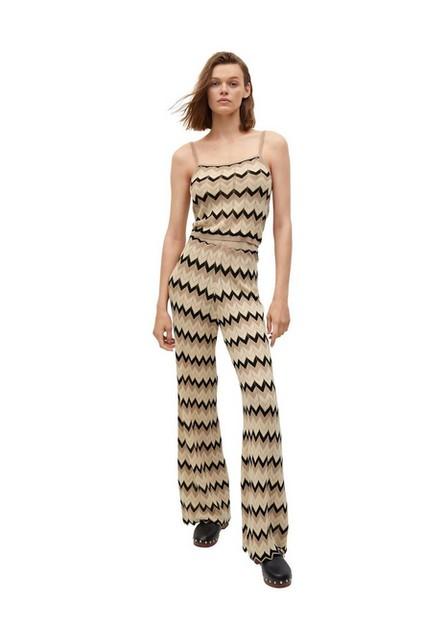 Mango - Light Beige Openwork Knit Trousers, Women