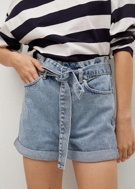 Mango - open blue Paperbag denim shorts, Women