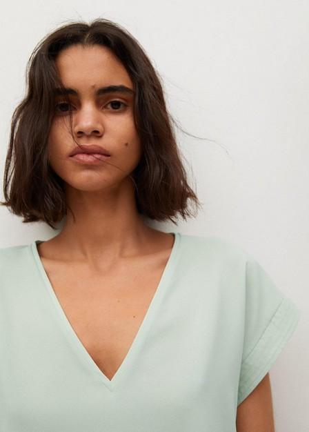Mango - green Flowy oversize T-shirt, Women