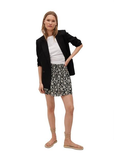 Mango - Black Ruffled Printed Miniskirt, Women