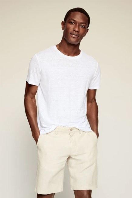 Mango - White Regular Fit 100% Linen T-Shirt, Men