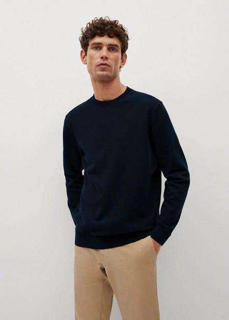 Mango - Navy Thermoregulator Cotton-Blend Sweater, Men