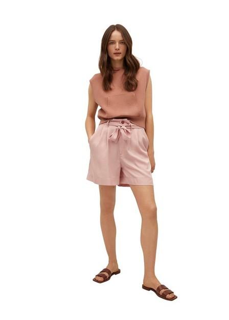 Mango - lt-pastel pink 100% lyocell shorts, Women