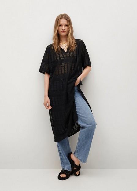 Mango - Black Openwork Knitted Caftan, Women