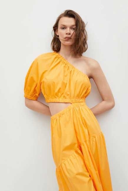 Mango - orange Vent cotton dress, Women
