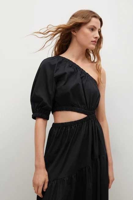 Mango - black Vent cotton dress, Women
