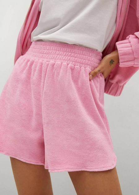Mango - pink Towel-texture cotton shorts, Women