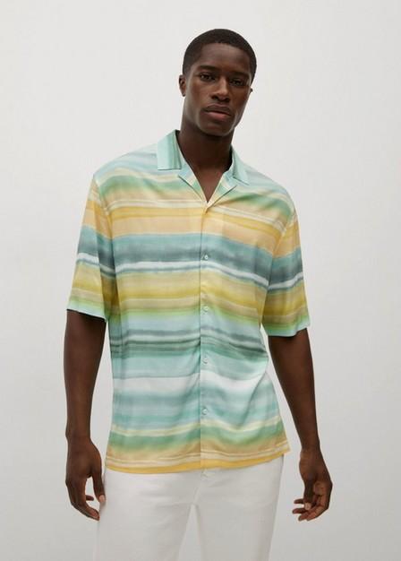 Mango - Turquoise - Aqua Printed Flowy Shirt, Men