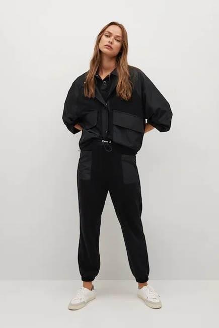 Mango - Black Contrasting Fabric Jacket, Women