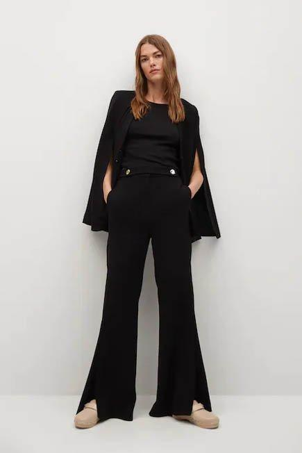 Mango - black Crepe fitted suit jacket, Women