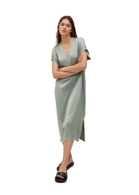 Mango - Turquoise - Aqua Flowy Dress With Openings, Women