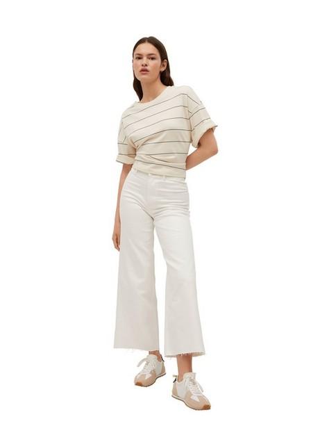 Mango - white High-waist elastic culotte jeans, Women