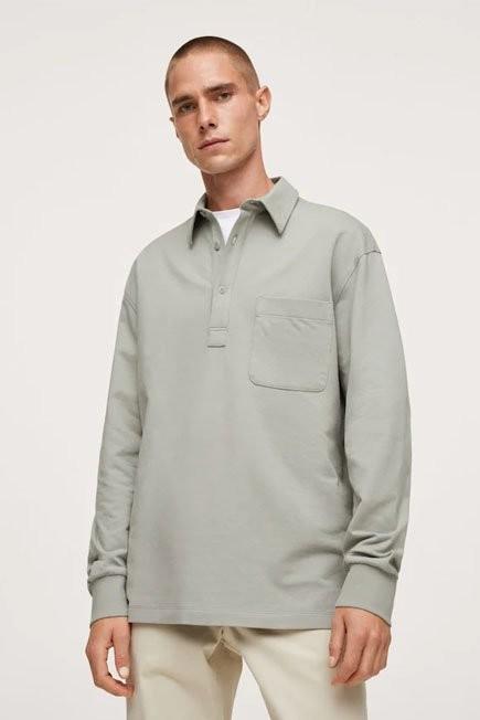 Mango - Green Long Sleeves Cotton Polo, Men