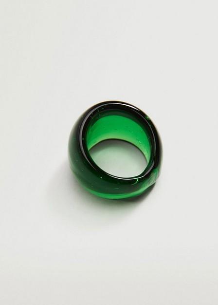 Mango - green Big crystal ring, Women