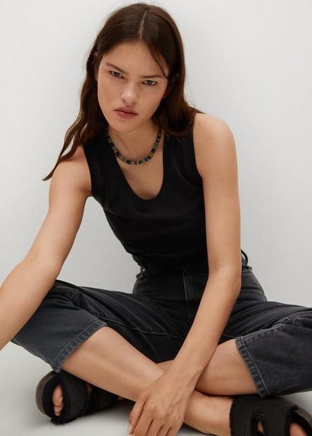 Mango - open grey High-waist balloon jeans, Women