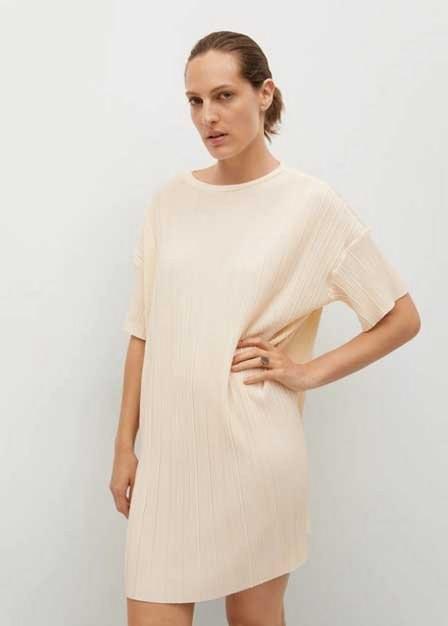 Mango - Light Beige Textured Flowy Dress, Women