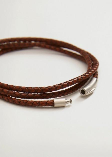Mango - Medium Brown Braided Leather Bracelet, Men
