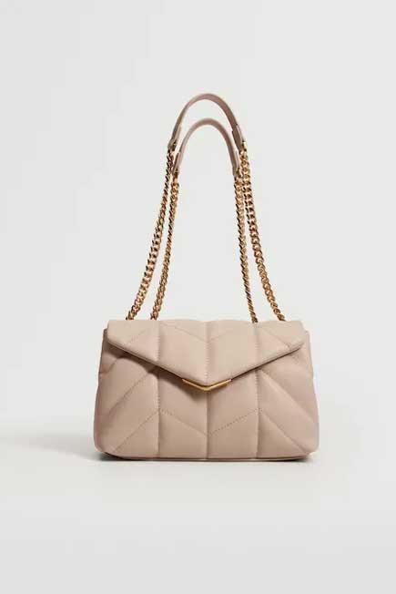 Mango - Nude Quilted Chain Bag, Women