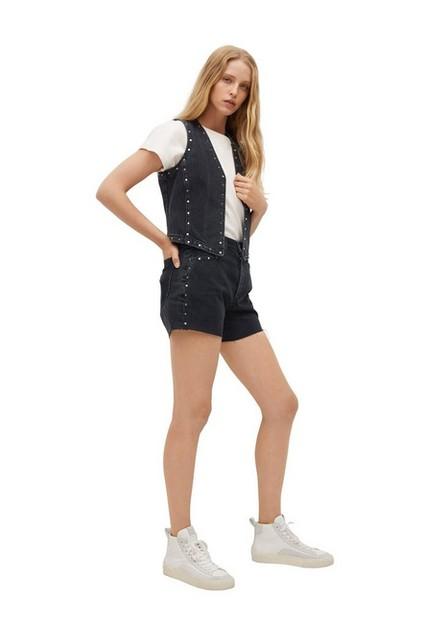 Mango - Open Grey Denim Shorts With Studs, Women