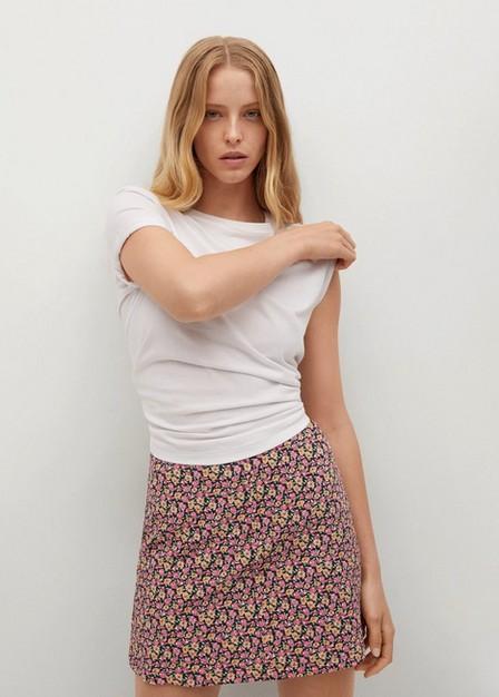 Mango - black Floral print miniskirt, Women
