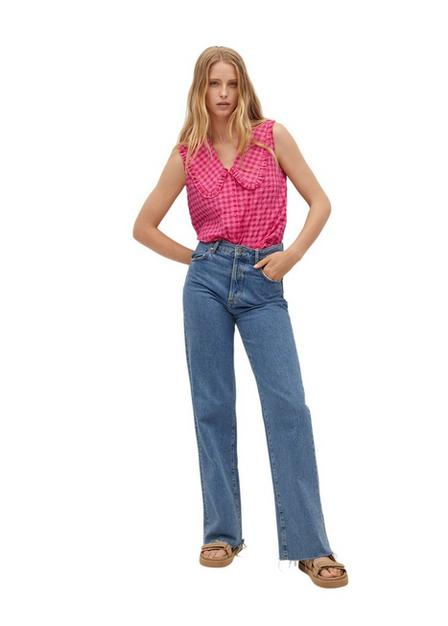 Mango - bright pink Babydoll collar cotton shirt, Women