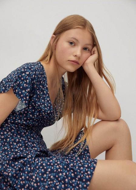 Mango - navy Floral print dress, Kids Girl