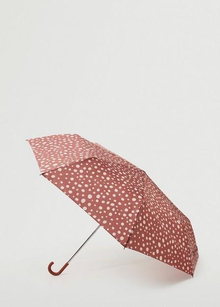 Mango - dark red Polka-dot folding umbrella, Women