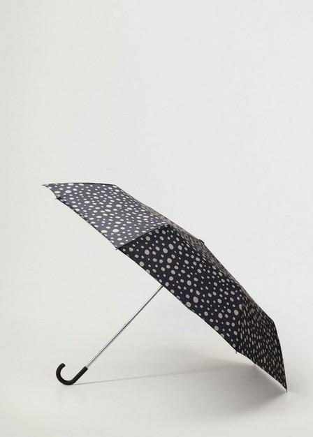 Mango - Black Polka-Dot Folding Umbrella, Women