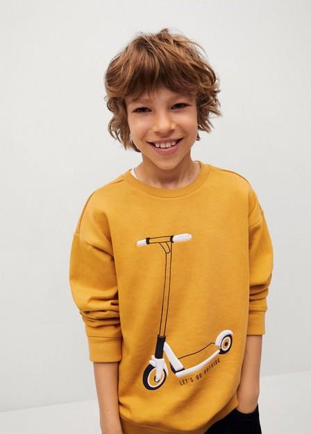Mango - Medium Yellow Textured Cotton-Blend Sweatshirt, Kids Boy
