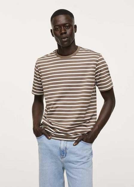 Mango - light beige Sustainable cotton striped t-shirt, Men
