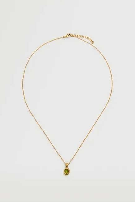 Mango - Gold Crystal Pendant Necklace, Women