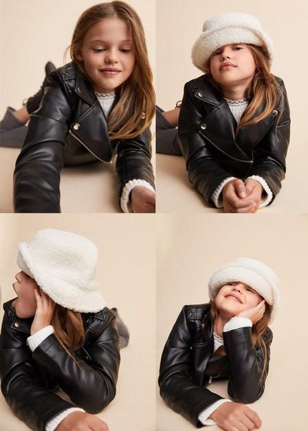 Mango - black Leather-effect biker jacket, Kids Girl