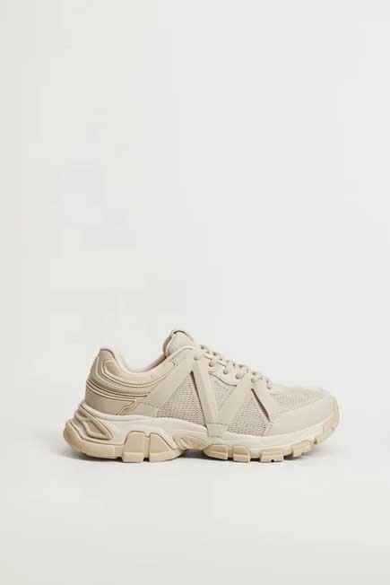 Mango - light beige Track sole sneakers, Women