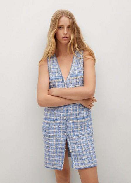 Mango - Medium Blue Pocket Tweed Dress, Women