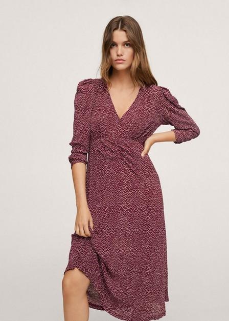 Mango - Dark Red Printed Textured Dress, Women