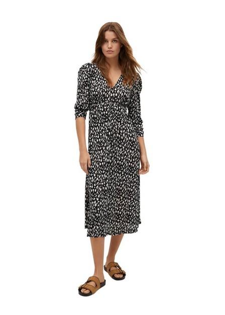 Mango - Black Printed Textured Dress, Women
