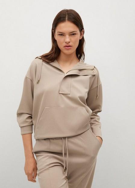 Mango - Lt-Pastel Grey Cotton Jogger-Style Trousers, Women