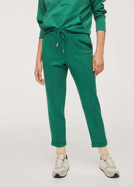Mango - Dark Green Cotton Jogger-Style Trousers, Women