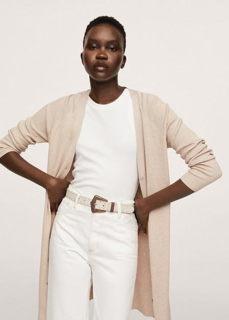 Mango - Lt-Pastel Grey Buttoned Ribbed Cardigan, Women