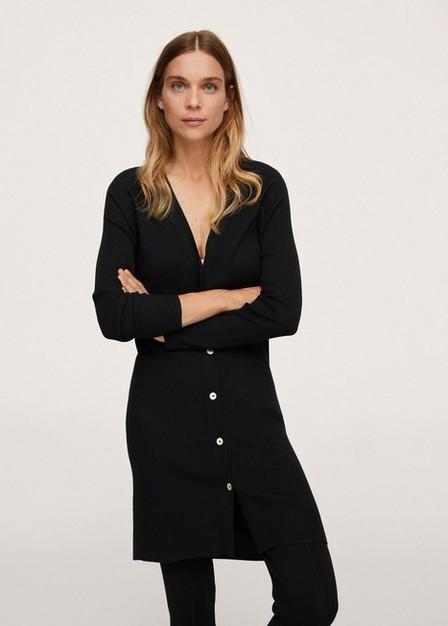 Mango - Black Buttoned Ribbed Cardigan, Women