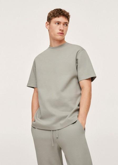 Mango - Green Plain Cotton T-Shirt, Men