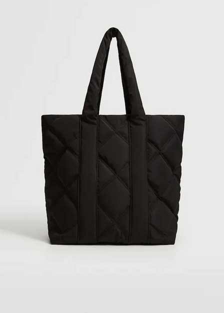 Mango - Black Quilted Shopper Bag, Kids Girl