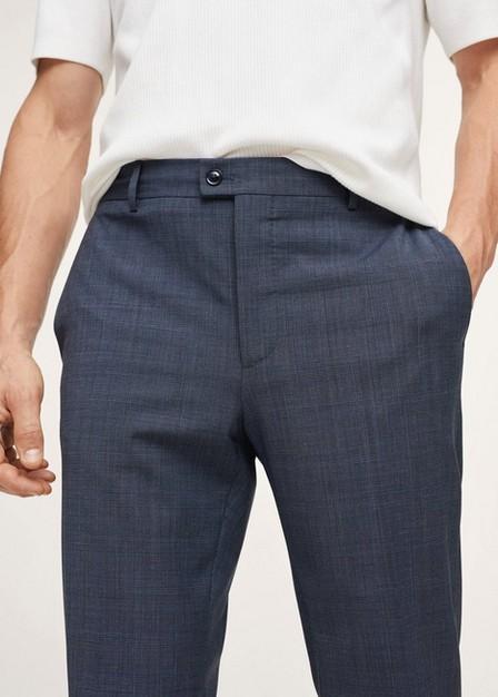 Mango - medium blue Slim fit check wool suit trousers, Men
