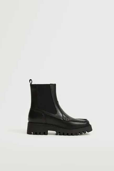 Mango - Black Leather Track Sole Ankle Boots, Women