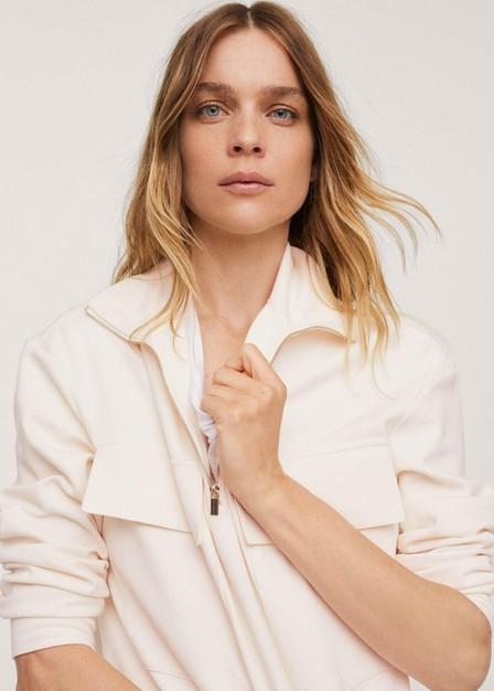 Mango - Natural White Cotton Sweatshirt With Pockets, Women