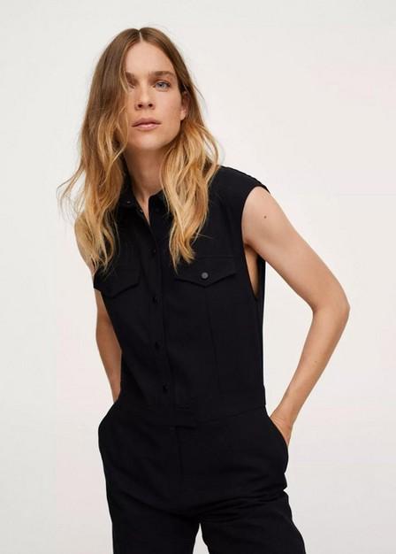 Mango - Black Long Chest-Pocket Jumpsuit, Women