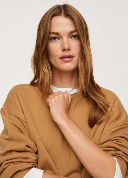 Mango - Medium Brown 100% Cotton Sweatshirt, Women