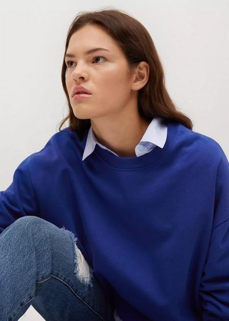 Mango - Medium Blue 100% Cotton Sweatshirt, Women