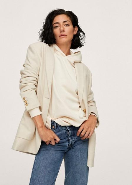 Mango - light beige Oversize cotton sweatshirt, Women